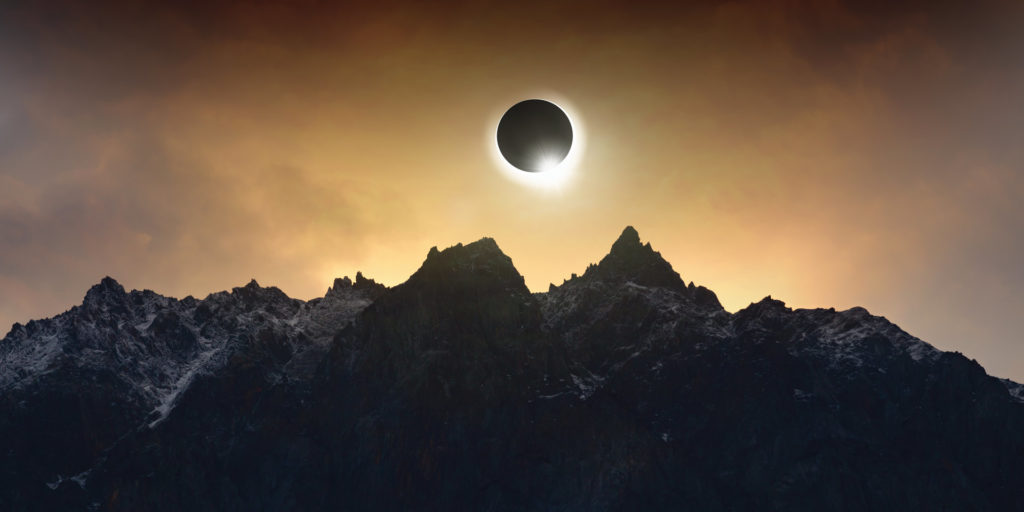2021 Solar eclipse over the antarctic landscape