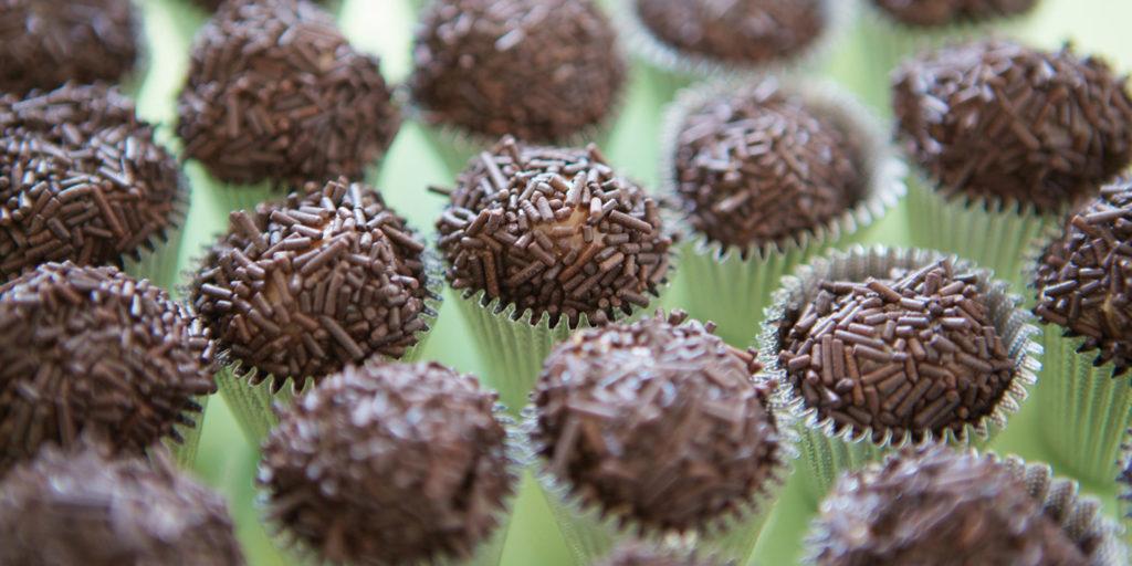Brazil dessert brigadeiros chocolate truffles with sprinkles