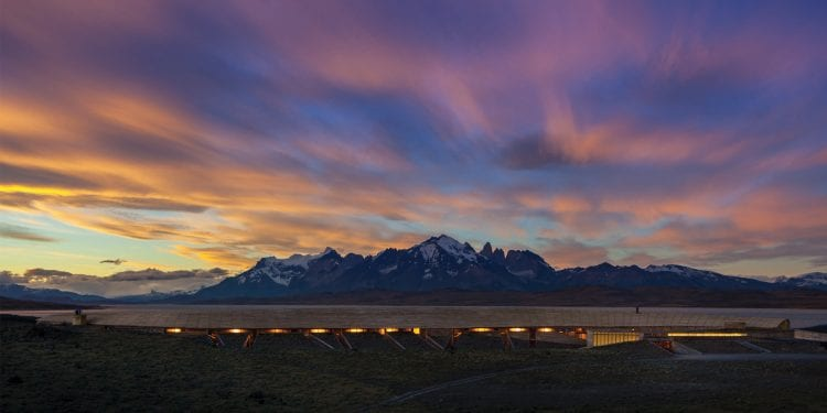 Chile Tierra Patagonia sunset view of the building Contours Travel