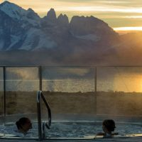 Chile Tierra Patagonia sunset view from the pool Contours Travel