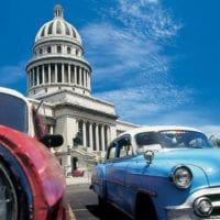 Classic cars in the Capitolio in Havana Cuba Contours Travel