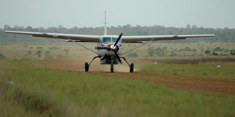 Small plane landing in Guyana