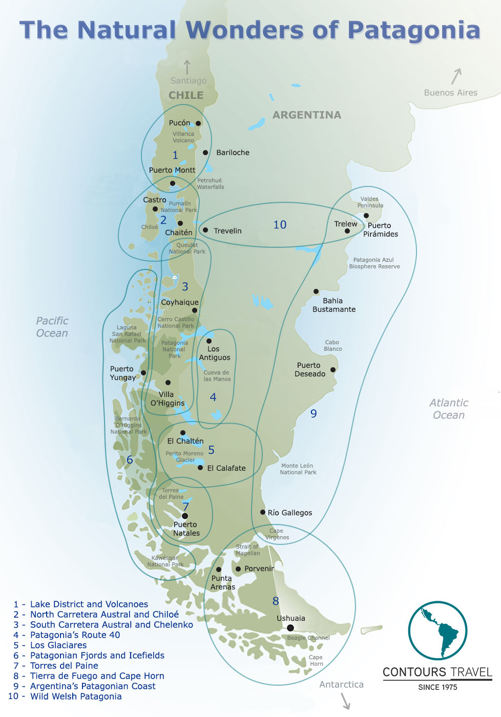 Map of Patagonia by regions Contours Travel