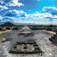 Mexico Mexico City view of Teotihuacan ruins Contours Travel