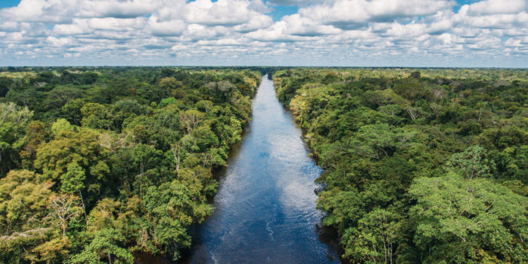 Peru Aqua Aria Amazon River Cruise sky view of the river Contours Travel