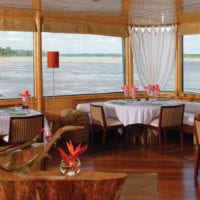 Dining room Iquitos Amazon Peru Delfin II Cruise Contours Travel