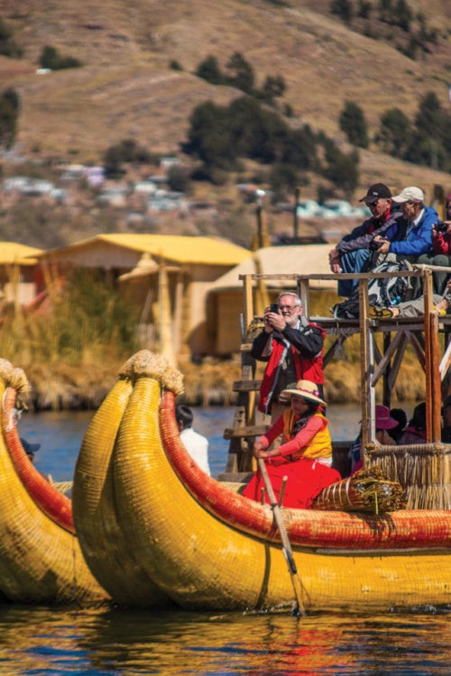 Uros Islands Reed Boats Lake Titicaca Peru Contours Travel