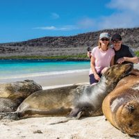 Wildlife sea lion beach Santa Fe Galapagos Ecuador courtesy of Metropolitan Touring Contours Travel