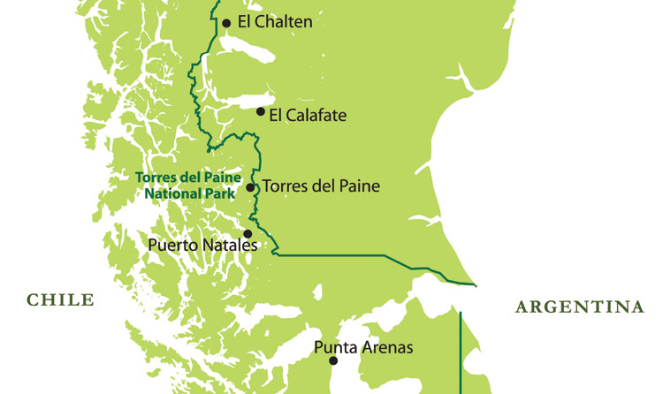 Map Of Torres Del Paine National Park Patagonia Chile