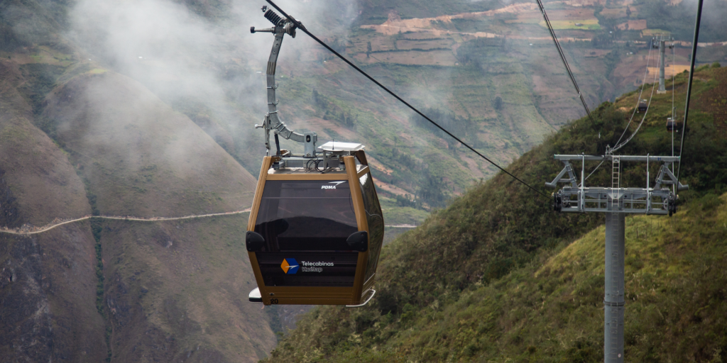 Cable car access to the Kuelap ruins in Chachapoyas Peru